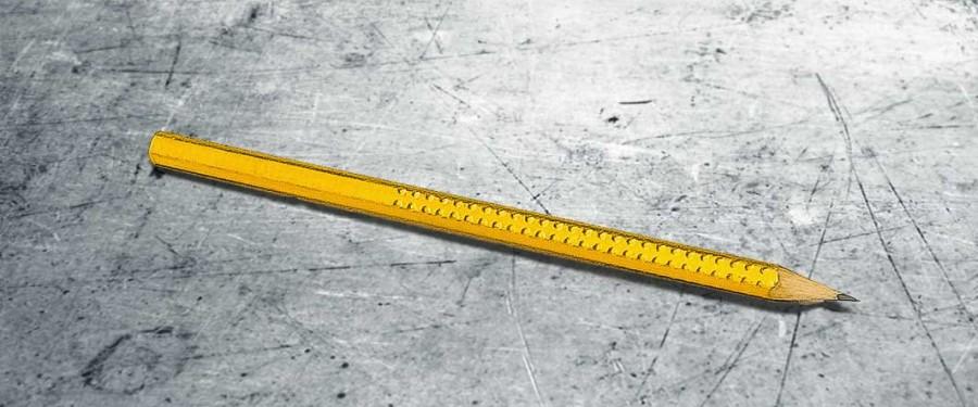 Mit 23 Karat Blattgold belegter und vergoldeter Bleistift.