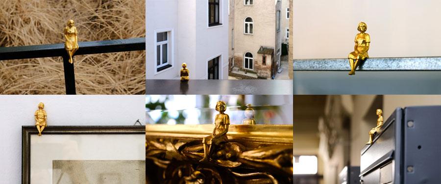 echt vergoldete Magnet Figuren