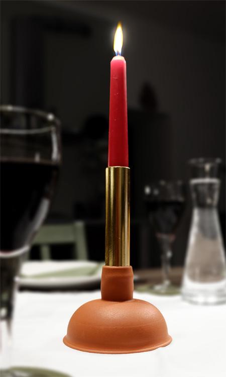 vergoldeter Pümpel Kerzenleuchter