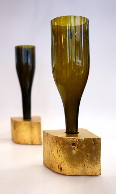 Vase Prost Weinflasche Goldsockel