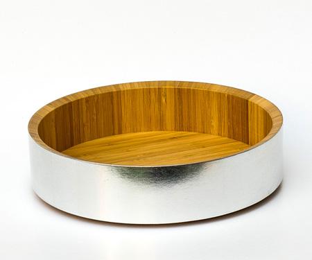 Holzschale aus Bambus mit silbernem Rand