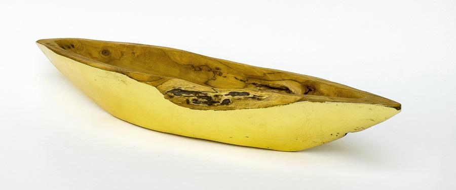 vergoldete Schale aus Teakholz