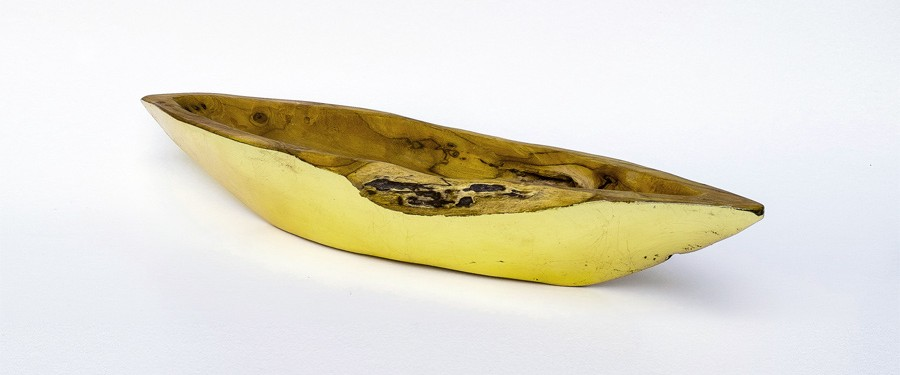 Holzschiffchen Schale Gold